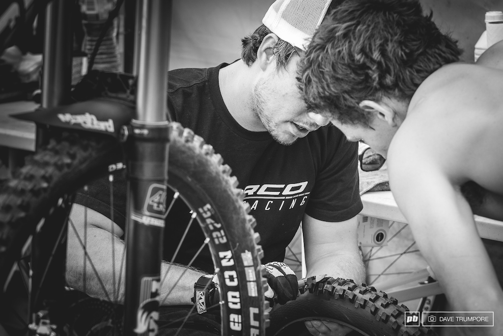 When fractions of a second matter no detail is left to chance. Here Same Blenkinsop and his mechanic chat about tire cuts in an effort to balance the fine line of grip and rolling resistance