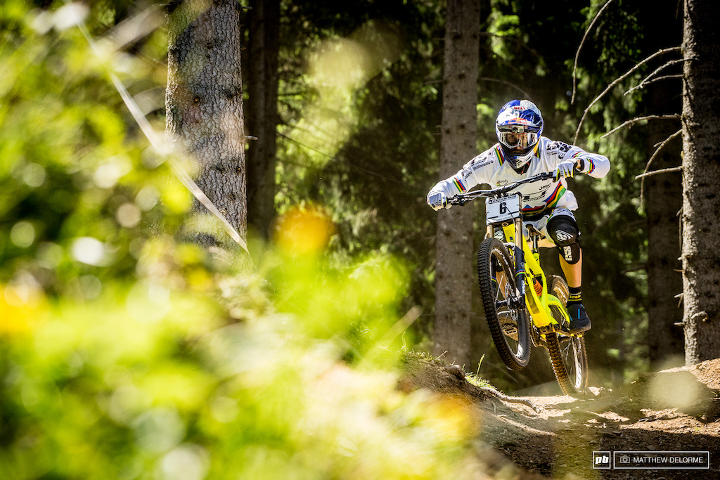 Gee Atherton rode a strong race today. While he didn't take the top spot, fifth was a good result on this wild track.
