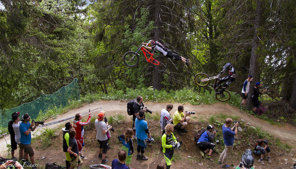 Me doing a superman right in front of Ville Ormo during a train at the whip it good contest. Good times' at Åre Bike Festival