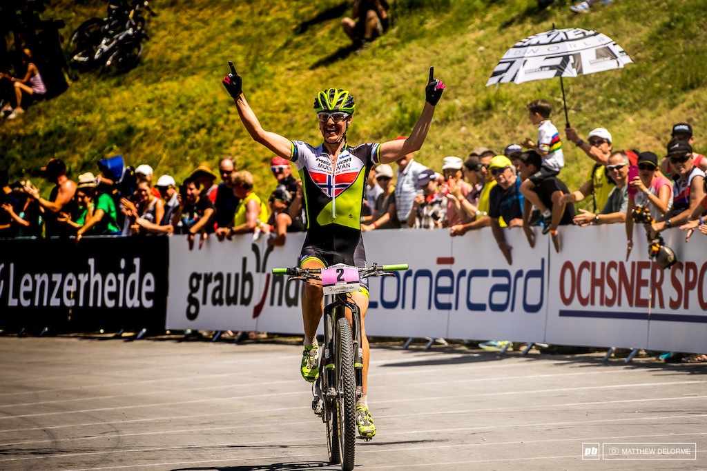 Gunn-Rita fresh off Marathon World Champs takes another victory here in Lenzerheide.