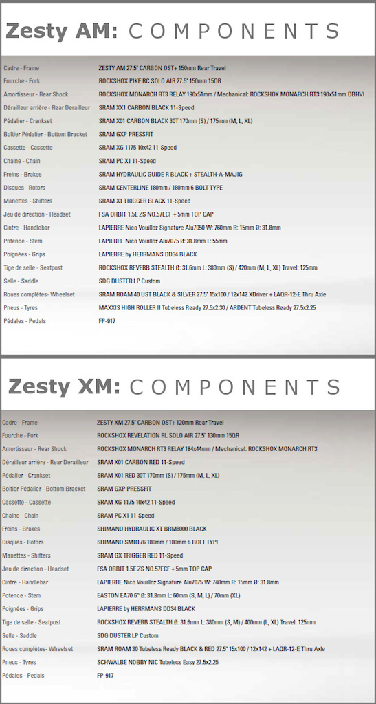 lapierre Zesty specifications 2016