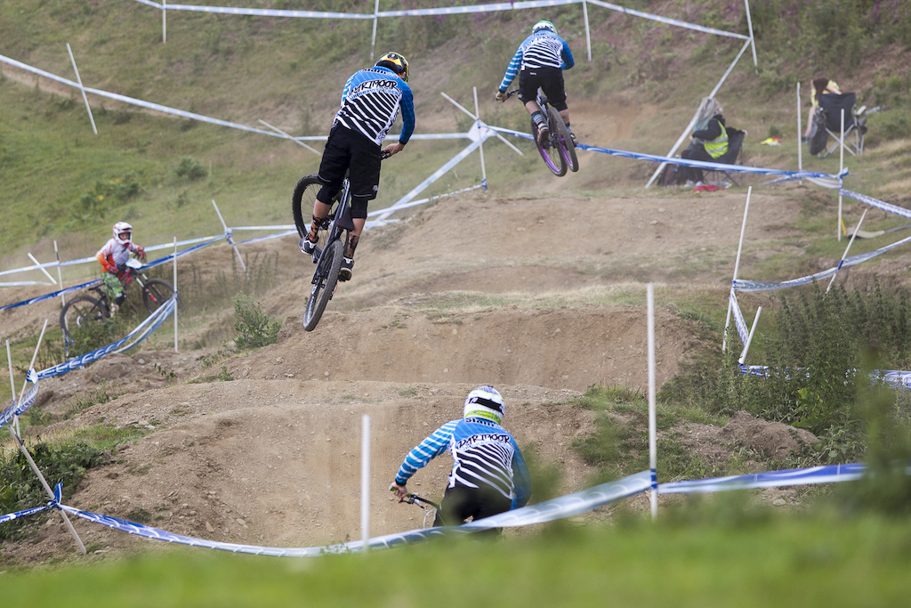 The Slam69 boys sure do look like they have fun both on and off the bikes during The Schwalbe British 4X National Championship at Moelfre Hall Moelfre United Kingdom. 11July 2015 Photo Charles Robertson
