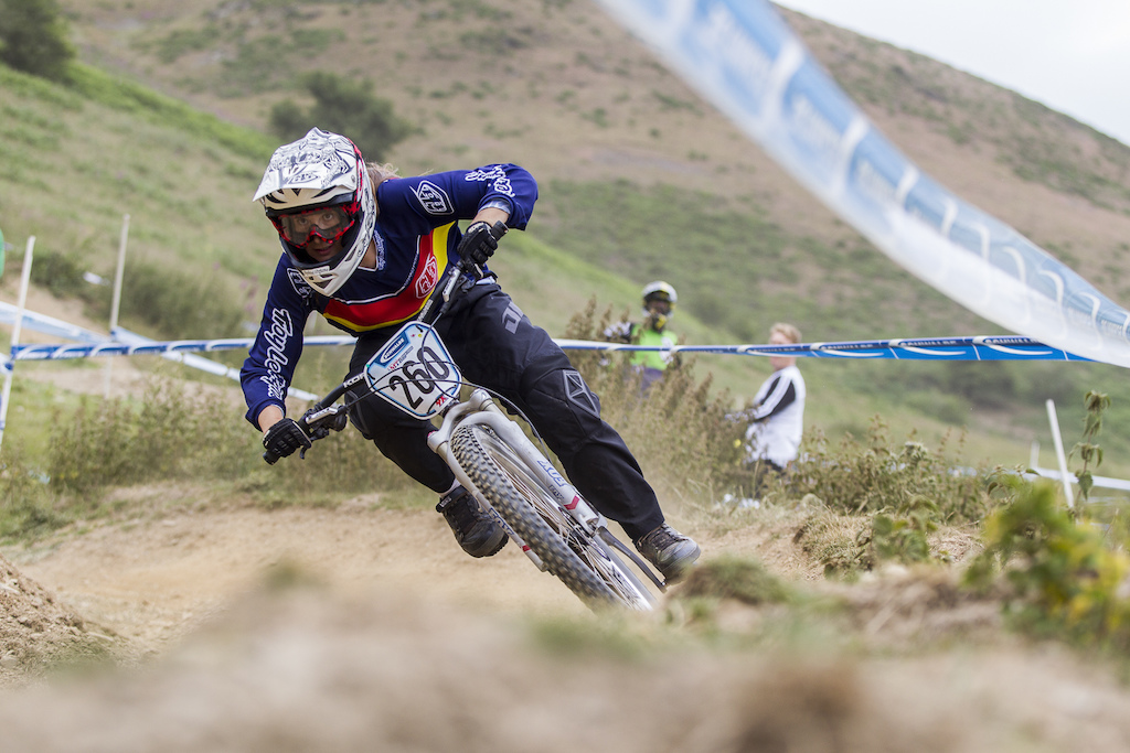 Natasha Bradley wasn t far off the men s pace over the weekend very impressive no wonder she took the 4X Pro Tour win at Fort William during The Schwalbe British 4X National Championship at Moelfre Hall Moelfre United Kingdom. 11July 2015 Photo Charles Robertson