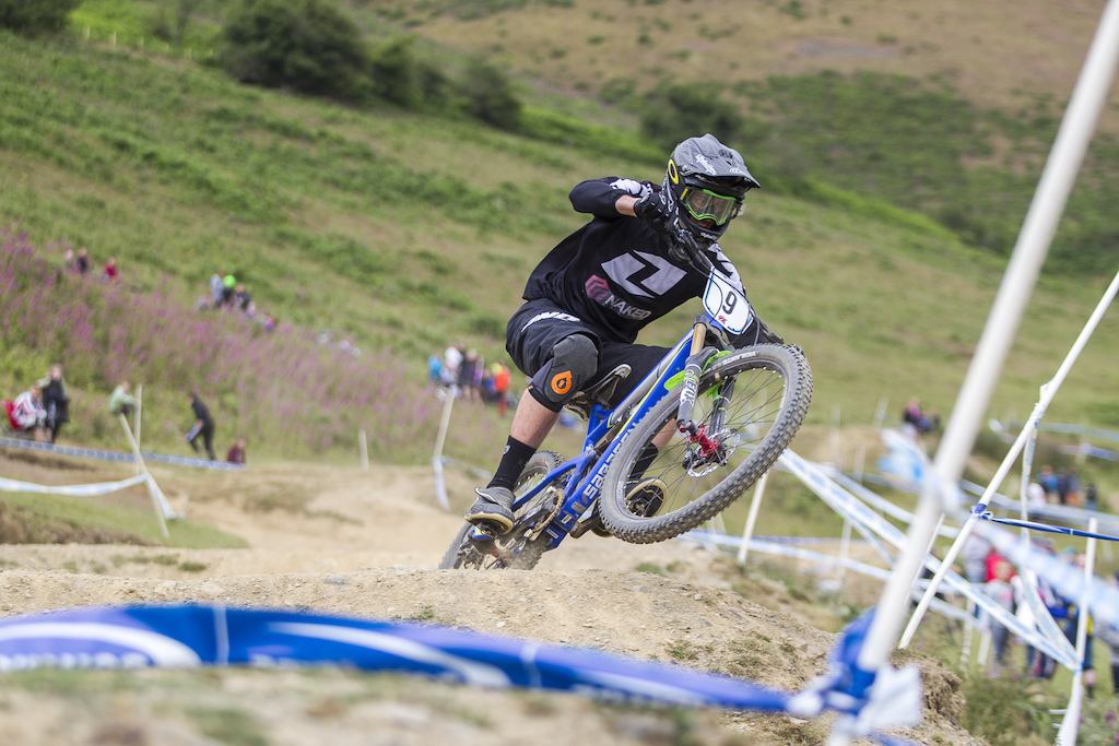Dave Roberts was one of the few riders to opt for full suspension during The Schwalbe British 4X National Championship at Moelfre Hall, Moelfre, United Kingdom. 11July,2015 Photo: Charles Robertson