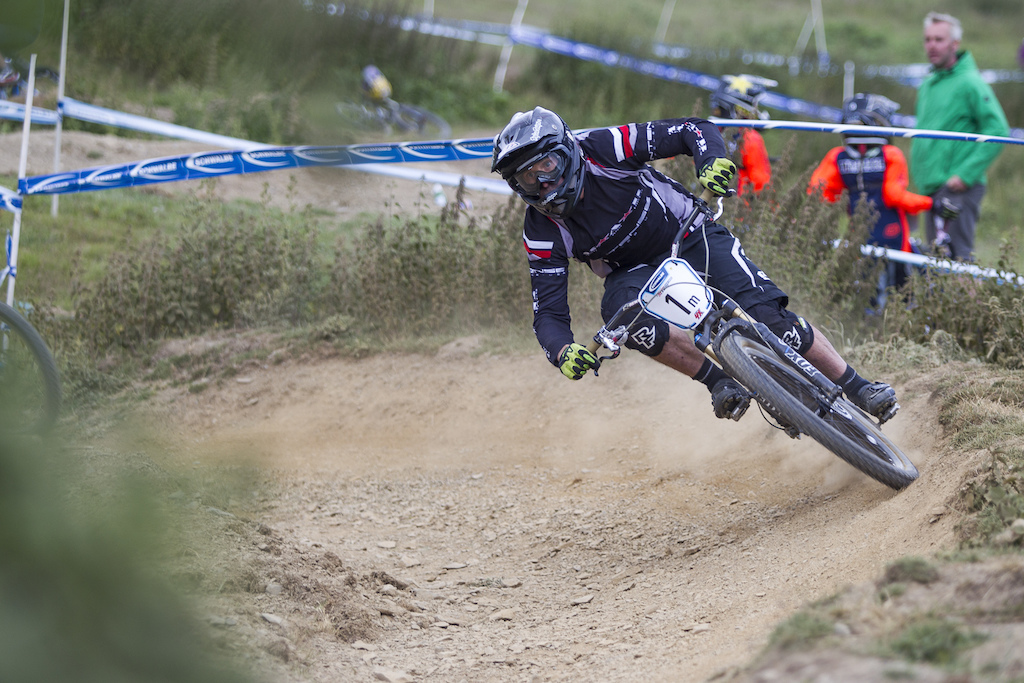 If Stephen Russell was in the senior category judging by his speed alone I d say he d have taken a top 5 position Not bad for an old guy during The Schwalbe British 4X National Championship at Moelfre Hall Moelfre United Kingdom. 11July 2015 Photo Charles Robertson