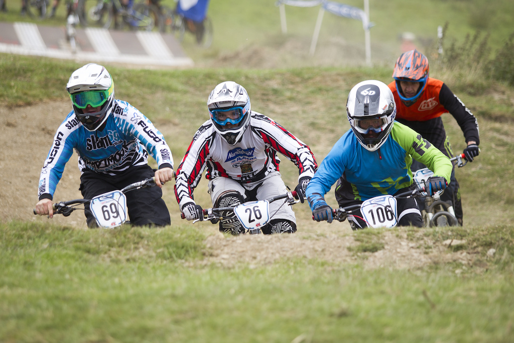 Bar to bar racing out of the gate during The Schwalbe British 4X National Championship at Moelfre Hall Moelfre United Kingdom. 11July 2015 Photo Charles Robertson