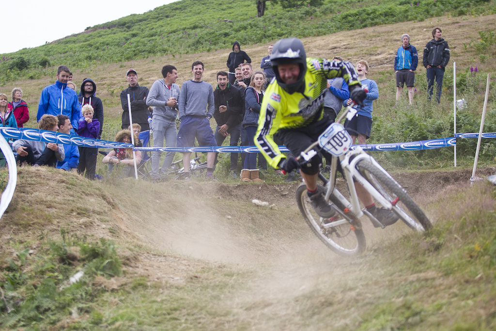 Putting the National Champs along side a BDS round was such a good idea. Here you ve got a bunch of downhill riders witnessing there first 4x race As you can see by their faces they re clearly having a good time during The Schwalbe British 4X National Championship at Moelfre Hall Moelfre United Kingdom. 11July 2015 Photo Charles Robertson