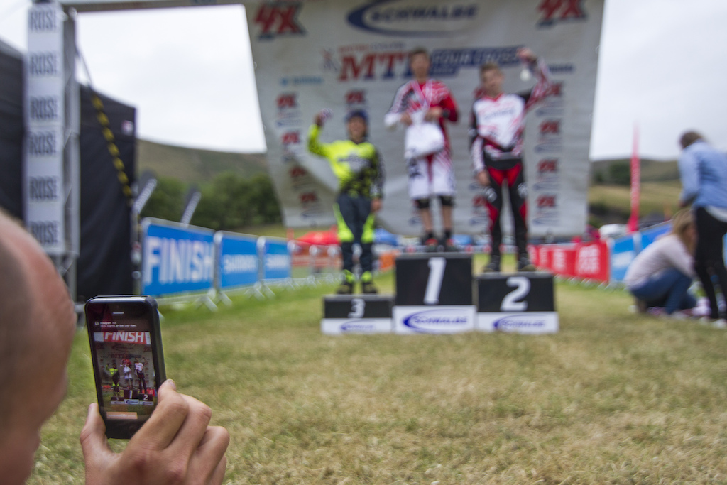Si Paton live streaming the podiums during The Schwalbe British 4X National Championship at Moelfre Hall Moelfre United Kingdom. 11July 2015 Photo Charles Robertson