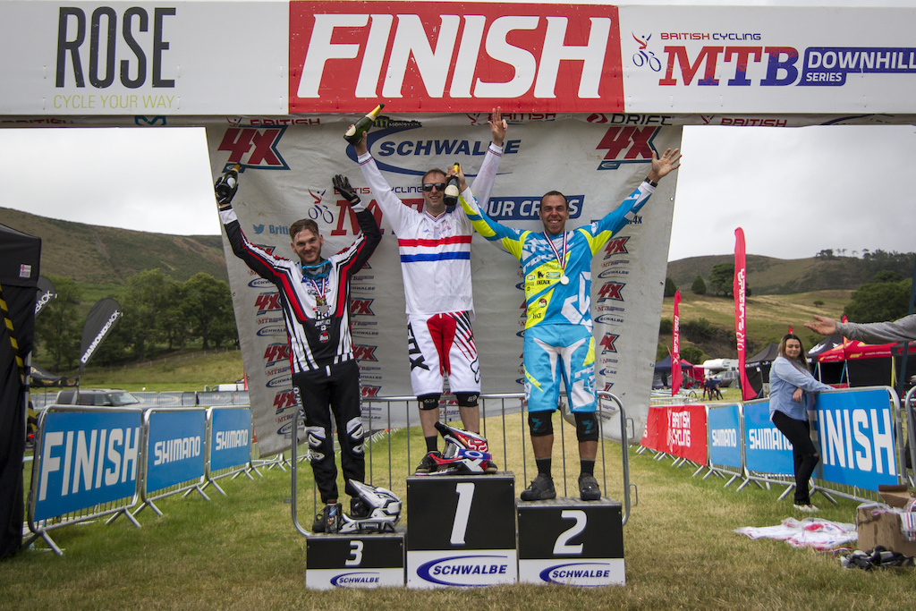 Your Male elite Podium Alex Metcalfe 3rd Scott Beaumont 1st Nathan Parsons 2nd during The Schwalbe British 4X National Championship at Moelfre Hall Moelfre United Kingdom. 11July 2015 Photo Charles Robertson