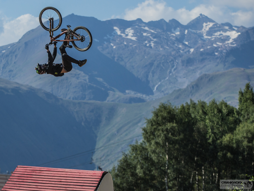 Brett Rheeder of Canada on the Slopestyle course at Crankworx Les Deux Alpes in France Photo by clint trahan crankworx