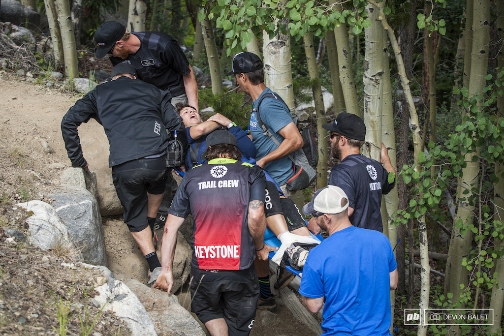 Keystone is a rough and tough mountain and it took it s fair share of riders down this past weekend. One rider took an unfortunate fall on a practice run before stage one.