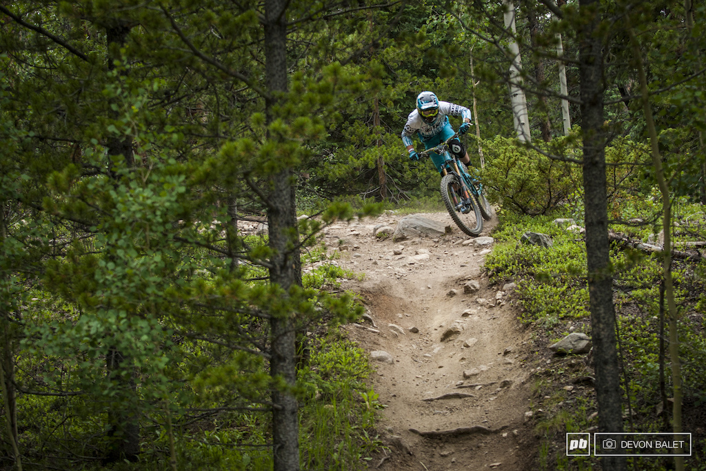 Yeti came out in full force this weekend in Keystone. Joshua Snow pedals out of turn on stage 3.