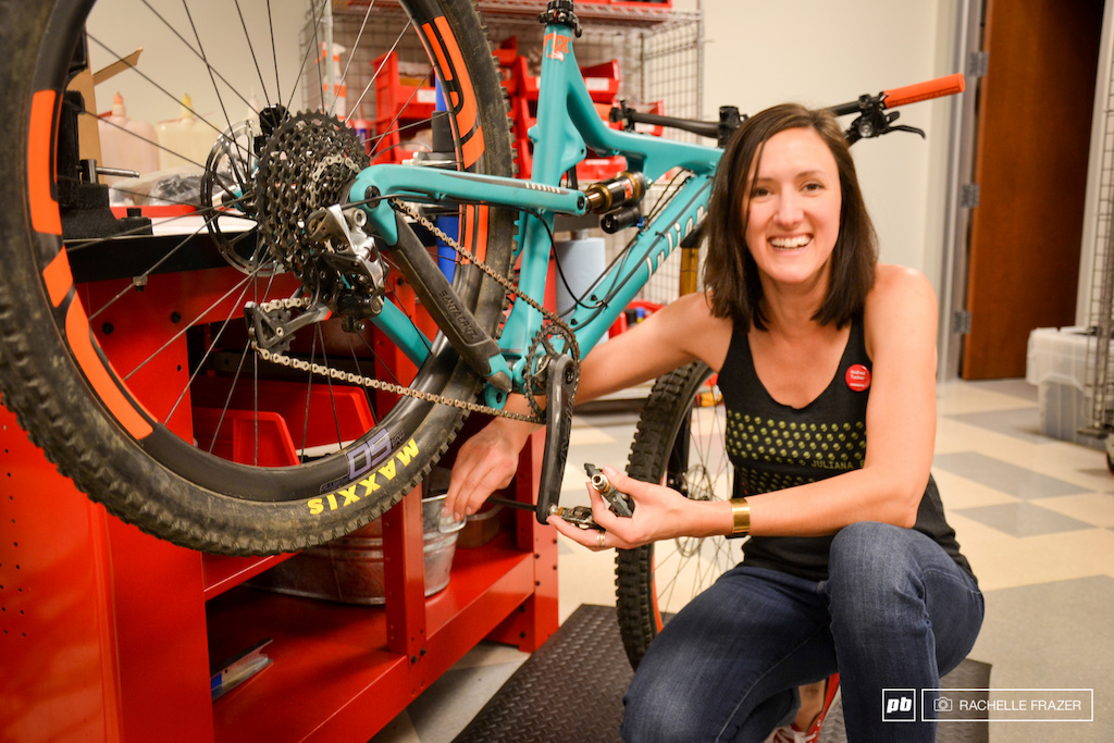 Andrea Turner is Santa Cruz s in-house demo coordinator she spends a lot of time working on bikes and can apply plenty of her new found knowledge in her job.