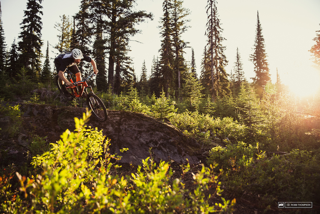 Bas van Steenbergen rolling a section of Rock Is The New Berm found in the Sovereign Lake area on Silver Star Mountain.