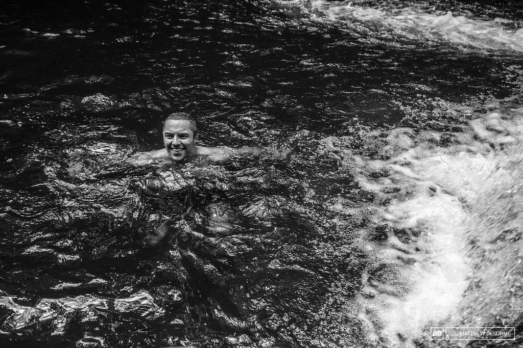 Gutierrez chills out in a cool mountain pool.