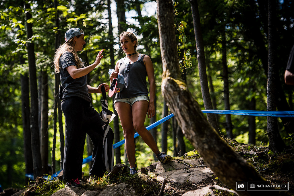 Myriam Nicole and Rachel Atherton swap tales of national championships in Britain and France.