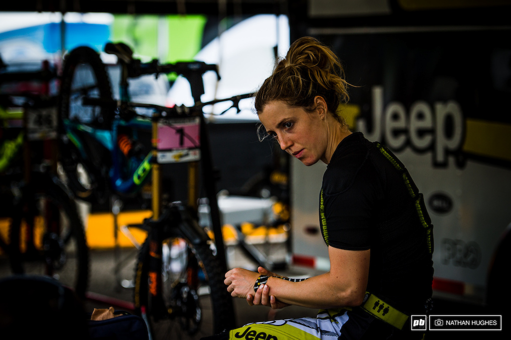 Rachel Atherton locked and loaded and ready to back up her first hard-earned first place quali yesterday.