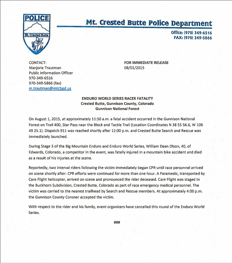 Crested Butte Police Report