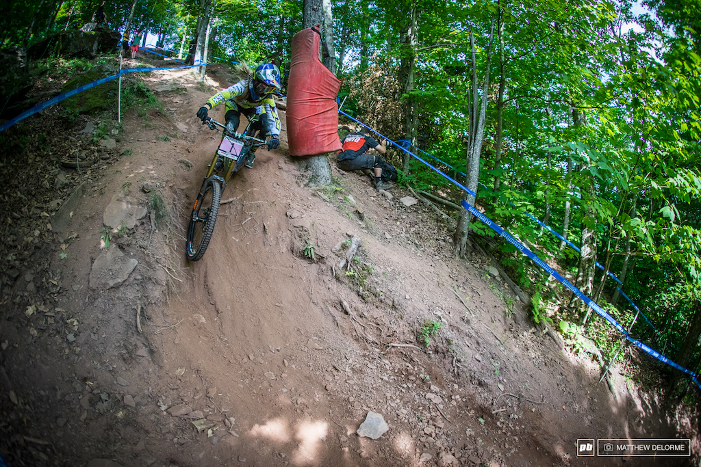 Rachel Atherton is the fastest women in the world. She was fastest in timed training. She will be hard to beat here in Windham for sure, but Tracey Hannah has her sights on that top step too.