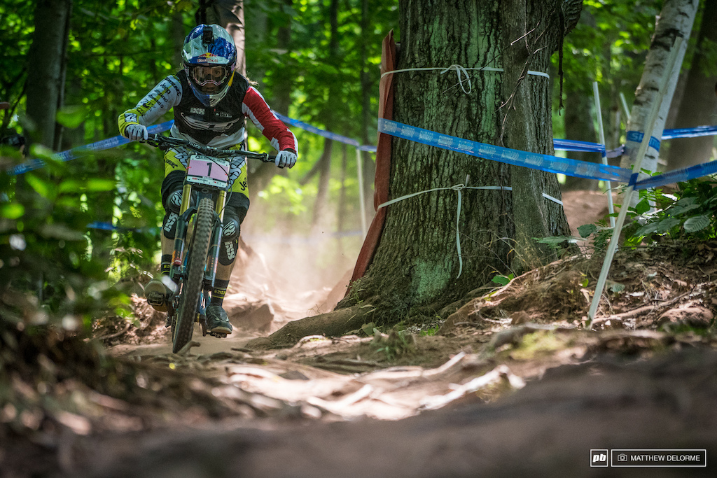 Rachel Atherton was out in front again. Pom Pon was closest to her at 2.39 seconds back.