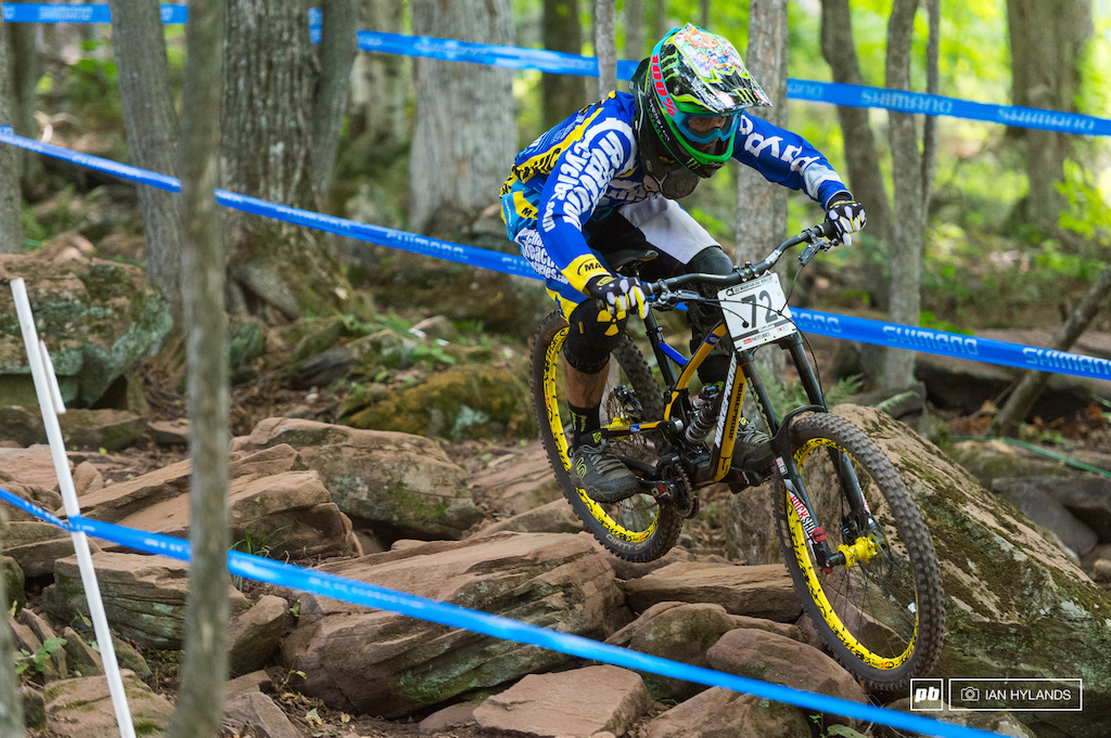 It didn't look like Sam Hill's should was bothering him much today in practice, but he still wasn't riding his usual pace. 9.6 seconds back of Gwin put him into 20th spot at the end of qualis.