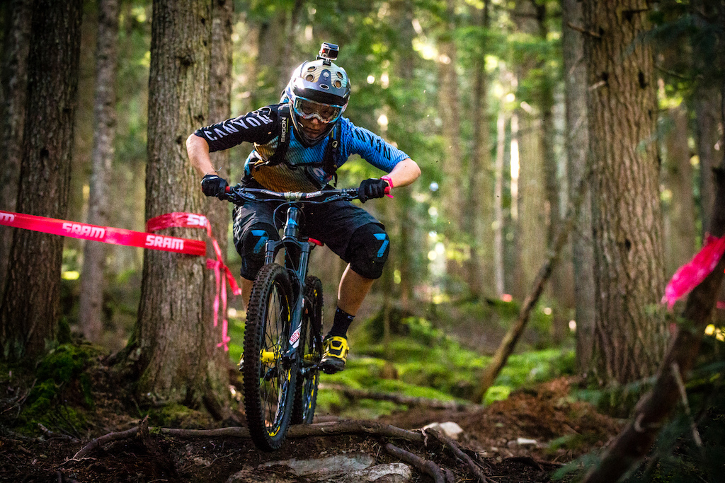 Ines Thoma loves it here in Whistler and isn t even slightly scared of the big slick roots that litter the more natural stages in the valley.