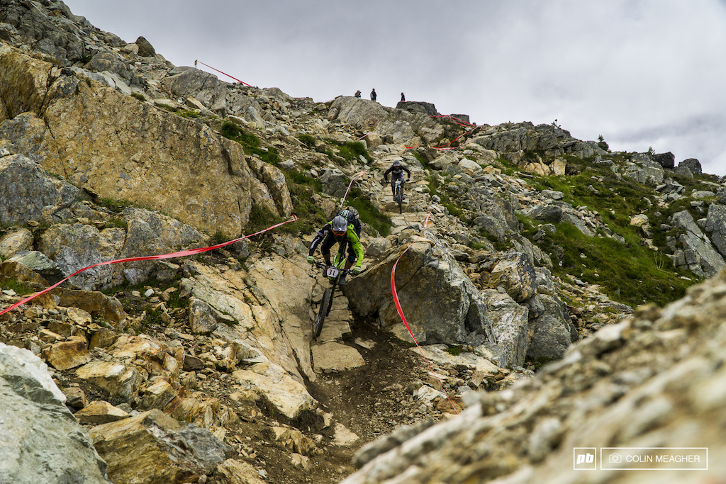 Marco Osborne putting his WTB Vigilante tires to the test on The Top of World Trail.