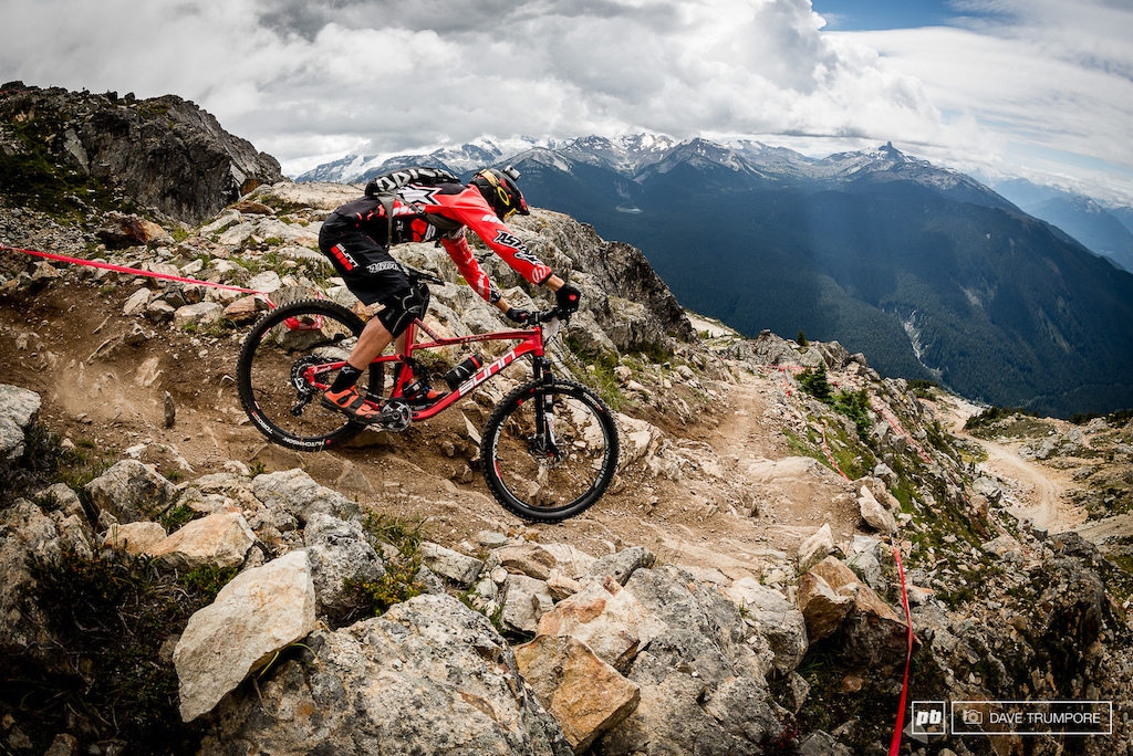 A season plagued with injury has held Thomas Lapeyrie back but coming off a 5th in Samoens we know he can hang at the front on the long physical Whistler stages.