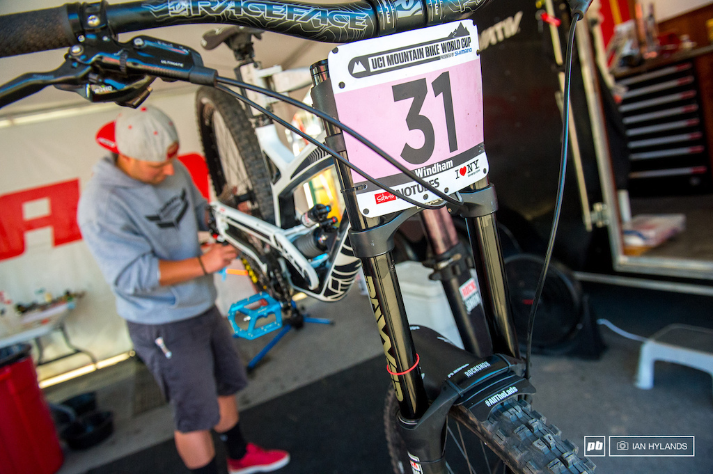 Cam Zink gave Missy Giove a nice new YT to race on at Windham. SRAM's Evan Warner gets it all ready for the day.