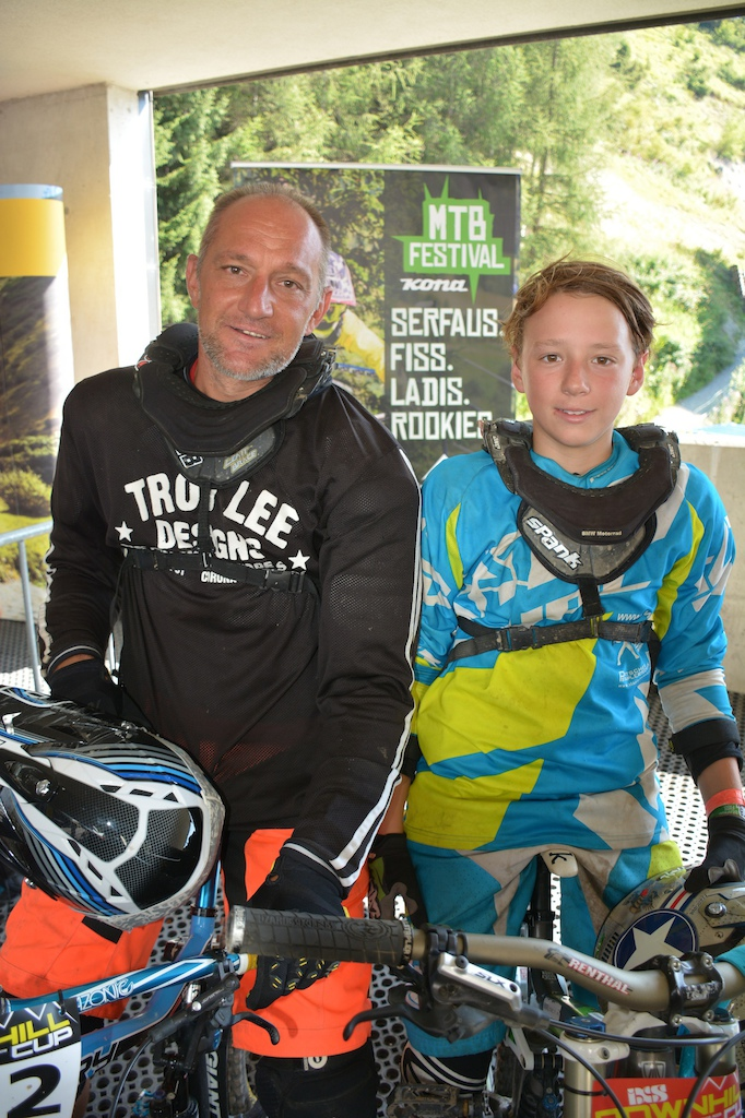 Reiner and Jonas G weil AUT competed in the Family Challenge at the MTB-Festival Serfaus-Fiss-Ladis.