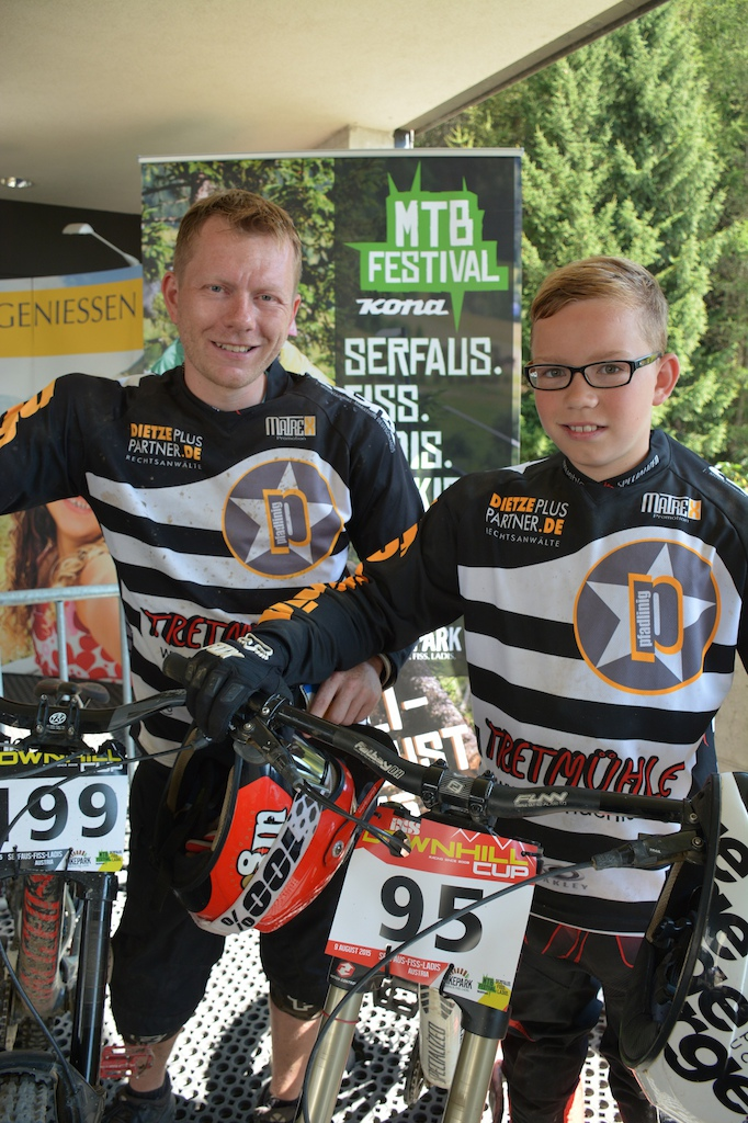 Marko Jobst and Maxim Eichler GER winner of the Family Challenge at the MTB-Festival Serfaus-Fiss-Ladis.