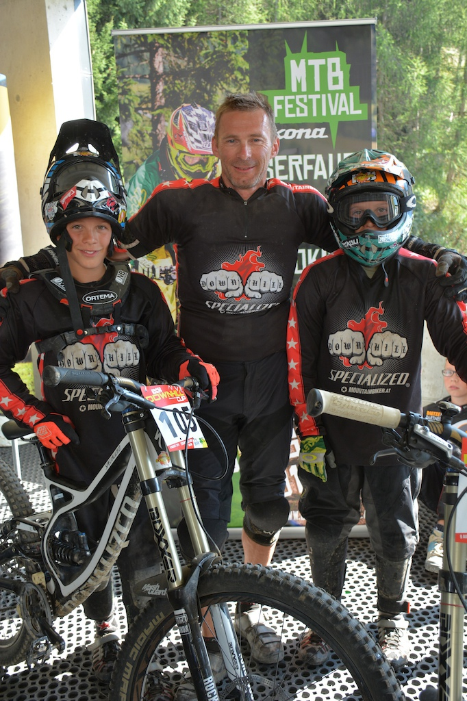Leon Papa Thomas and Lorenz Widhalm AUT competed in the Family Challenge at the MTB-Festival Serfaus-Fiss-Ladis.