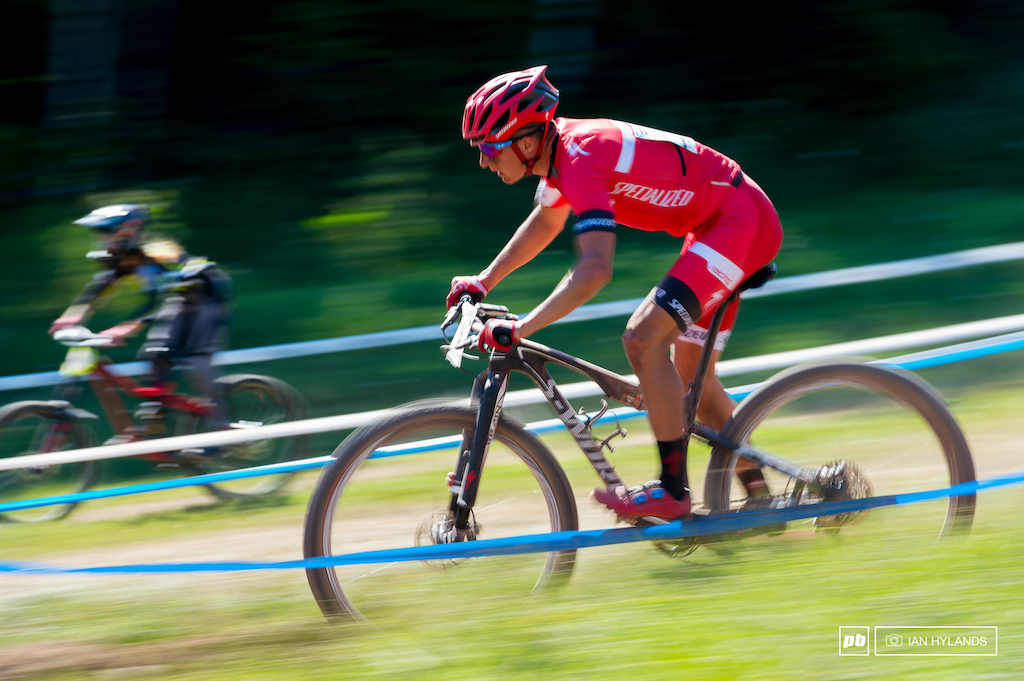 Howie Grotts was the top U23 American in 7th spot, here he appears to chase down a miniature DH rider.