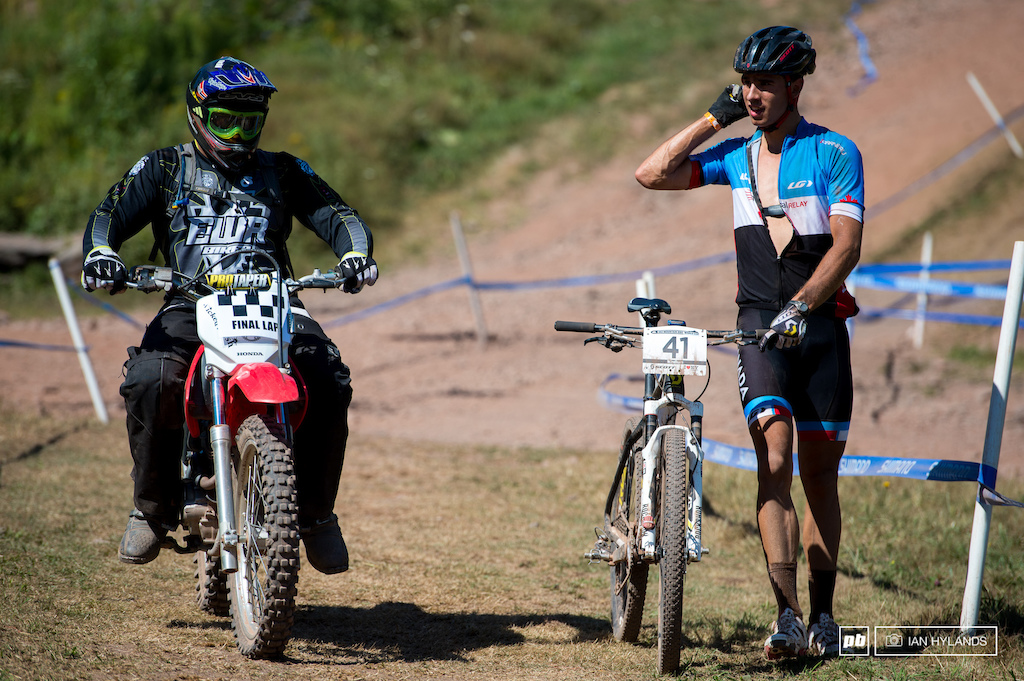 Marc Andre Fortier flatted near the top on the last lap, long walk down but he still finished.