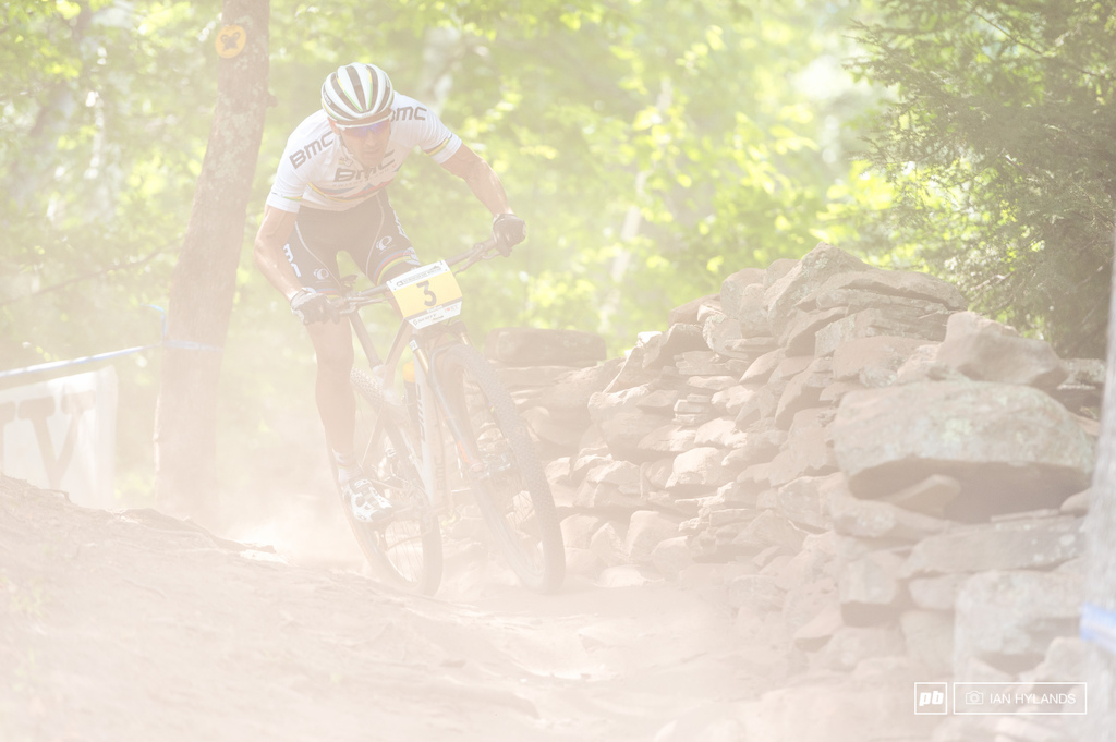 Absalon, right behind Schurter and breathing his dust all the way...