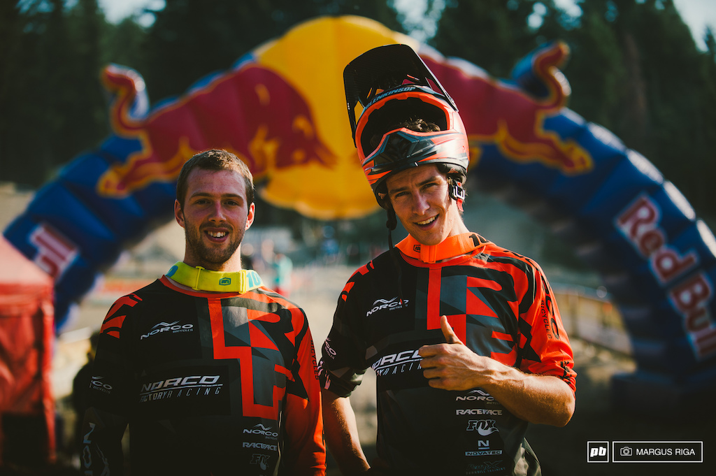 Harry Heath and Sam Blenkinsop the new face of Norco s Factory Racing team. Third and second for the day.