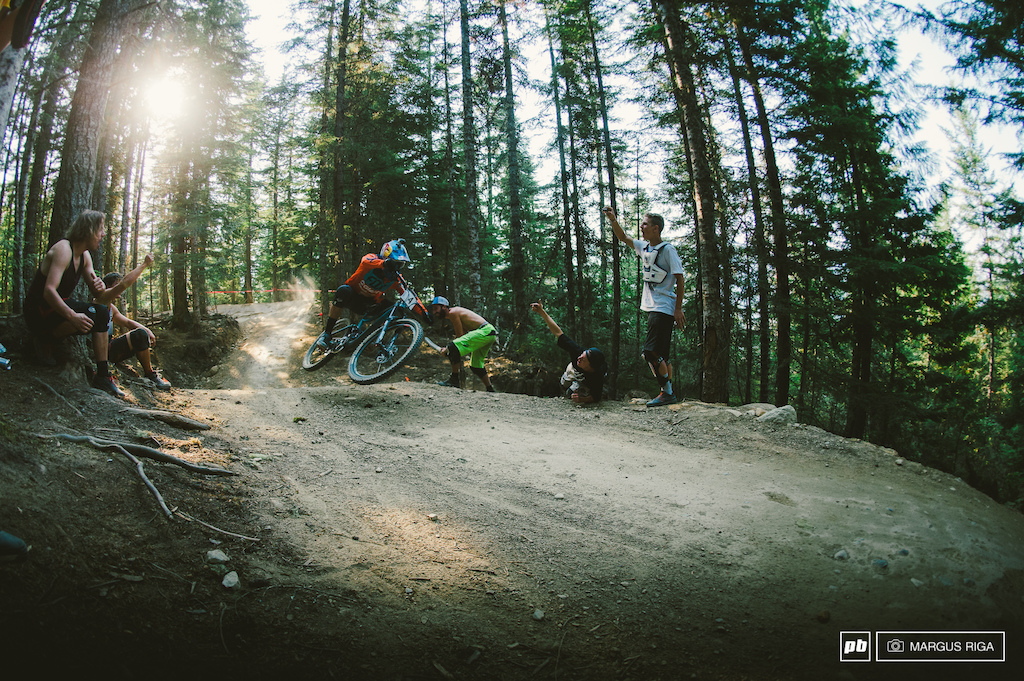 Stevie Smith, always the crowd favourite in Whistler, showing that he's back and winning the Air DH.