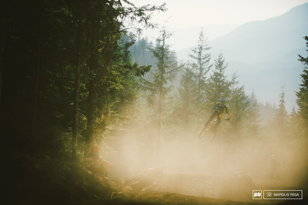 With nearby fires smoking out the sky today and riders smoking out the park Whistler was one big bowl of smoke today.