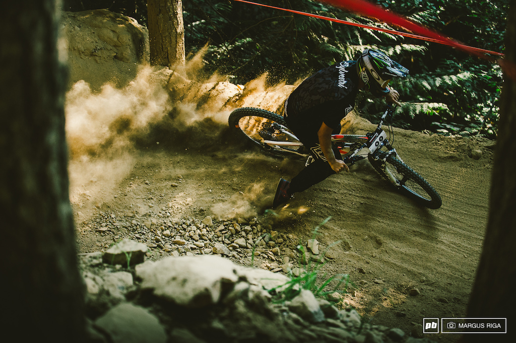 Mikey Sylvestri getting blasted on a loose berm.