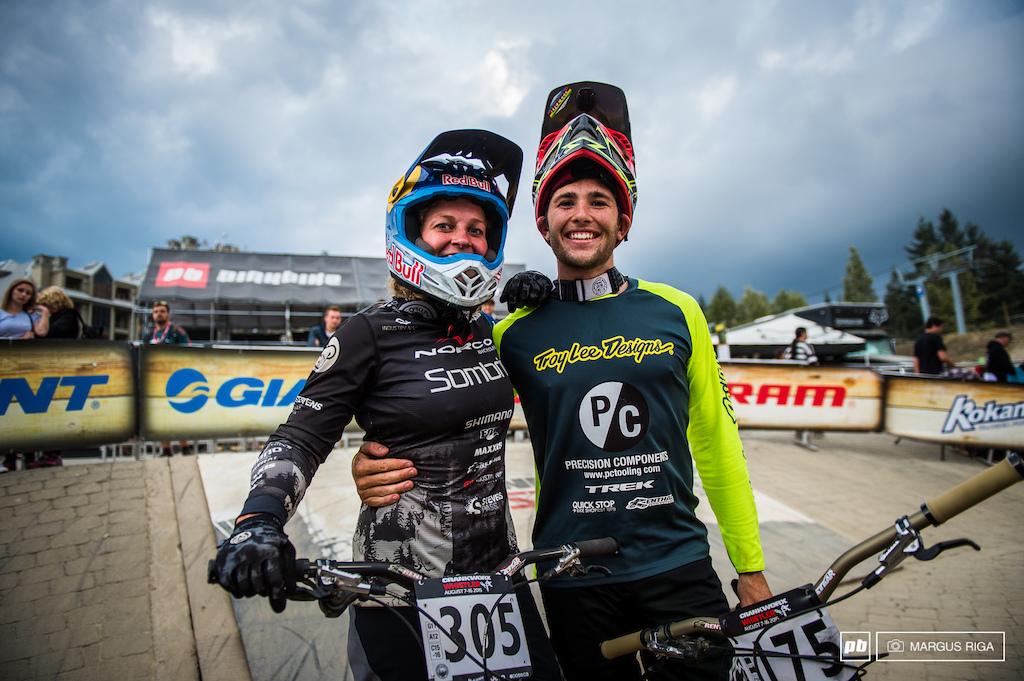 Winners at the Crankworx Giant Dual Slalom. Jill Kintner and Dakotah Norton.