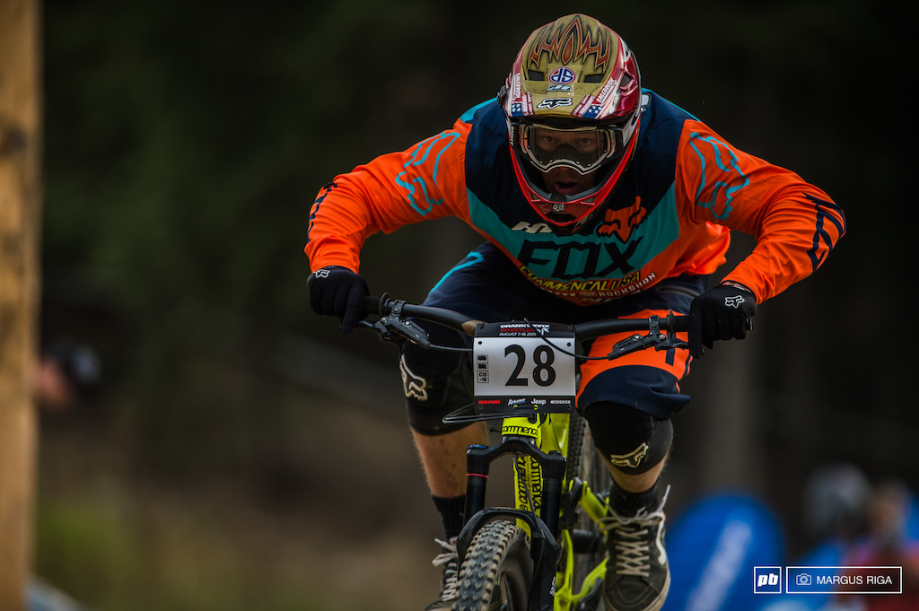 Kyle Strait was looking to finally take a win here at the Crankworx Whistler Giant Slalom but it was not to be.