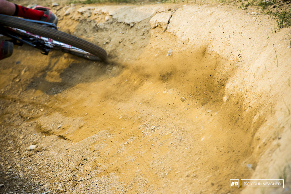 You know riders are going hard when they roost rock hard berms.