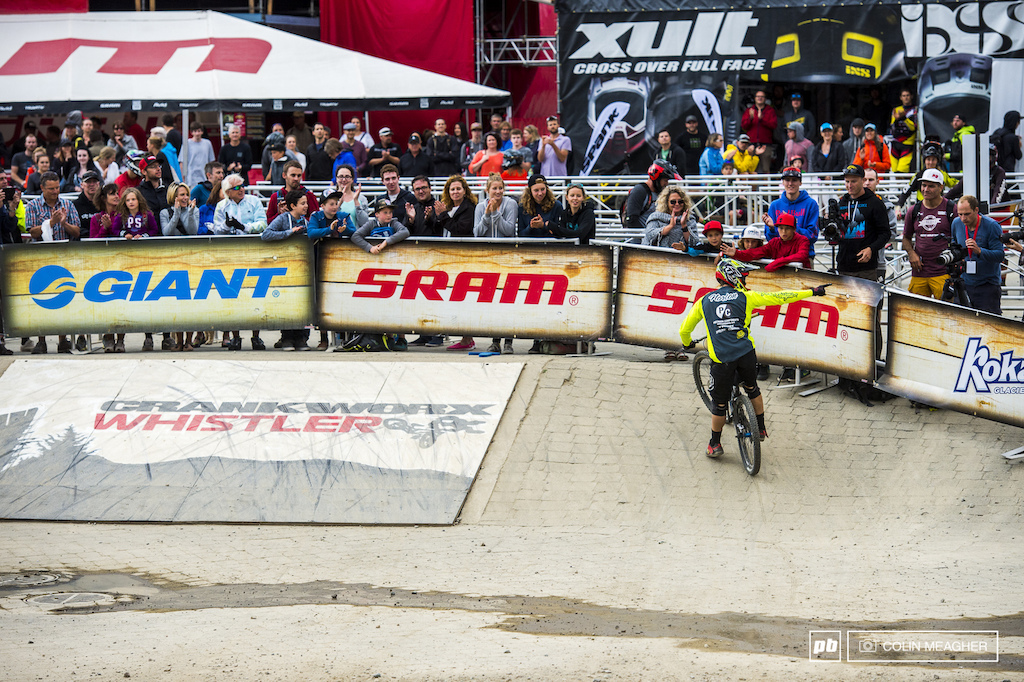 Dakotah Norton triumphant. Cinderalla story for the American racer to come to Crankworx and take on some of the giants of the mountain bike racing world and walk away the winner.
