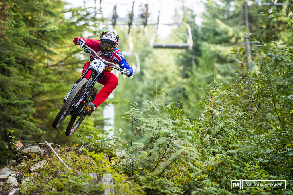 Troy Brosnan has been spending a huge amount of time in Whistler of late... something about a local girl That time on the trails payed off today with a win in the DH.