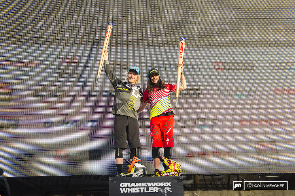 The King and Queen of Crankworx Bernard Kerr and Anneke Beerten. I have no idea what Bernard is going to do with his 25k check but Beerten plans on loading up on gourmet chocolate from a shop in the village.