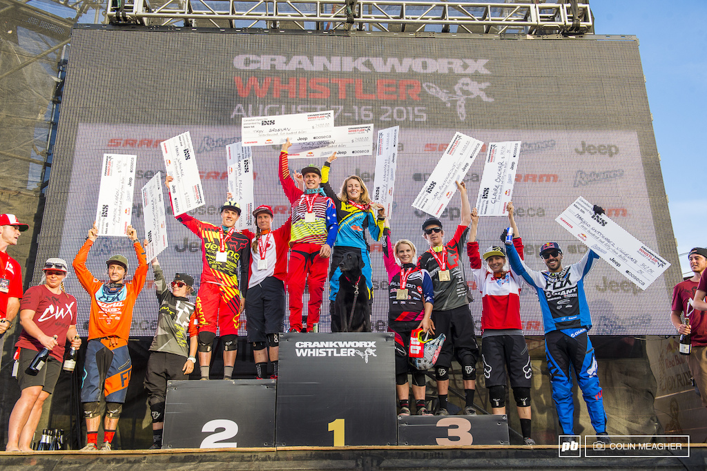Canadian Open DH Podium L-R . Connor Fearon and Emilie Siegenthaler 4 Mark Wallace and Miranda MIller 2 Troy Brosnan and Casey Brown 1 Tracy Hannah and Sam Blenkinsop 3 Claire Buchar and Marcelo Gutierrez 5 .