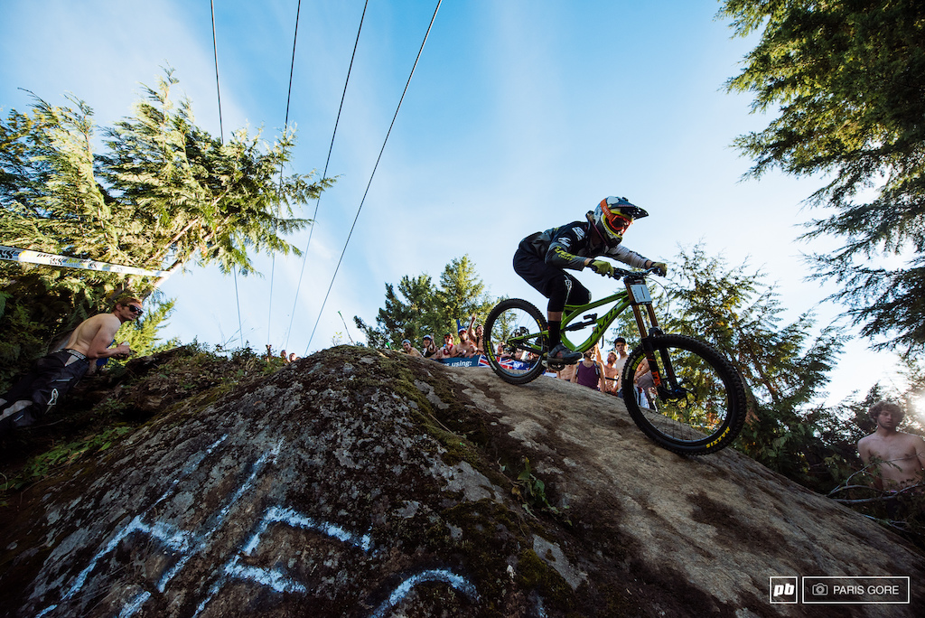 Bernard Kerr had to put down a safe run to secure his King of Crankworx winnings. That he did but very narrowly getting the 10th place he needed.