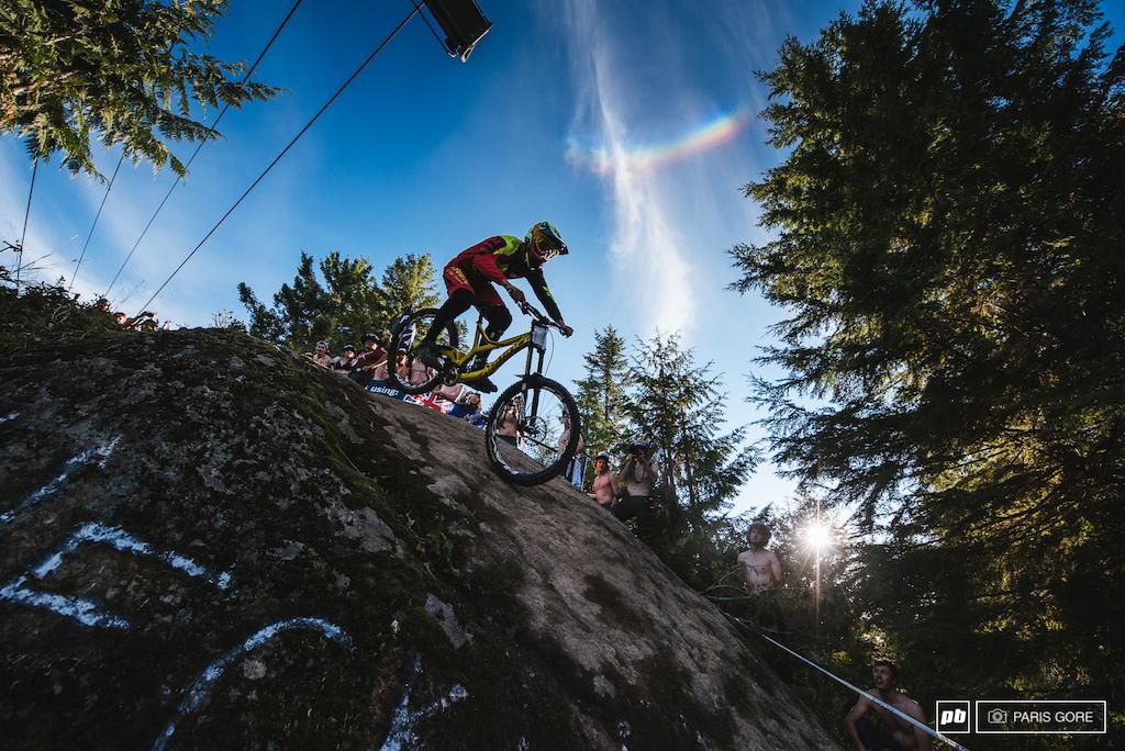 Dean Lucas dreaming of rainbows down Hecklers Rock.