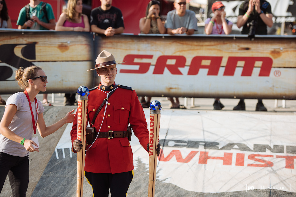 Canadian Mounty came along to present the King and Queen of Crankworx trophies.