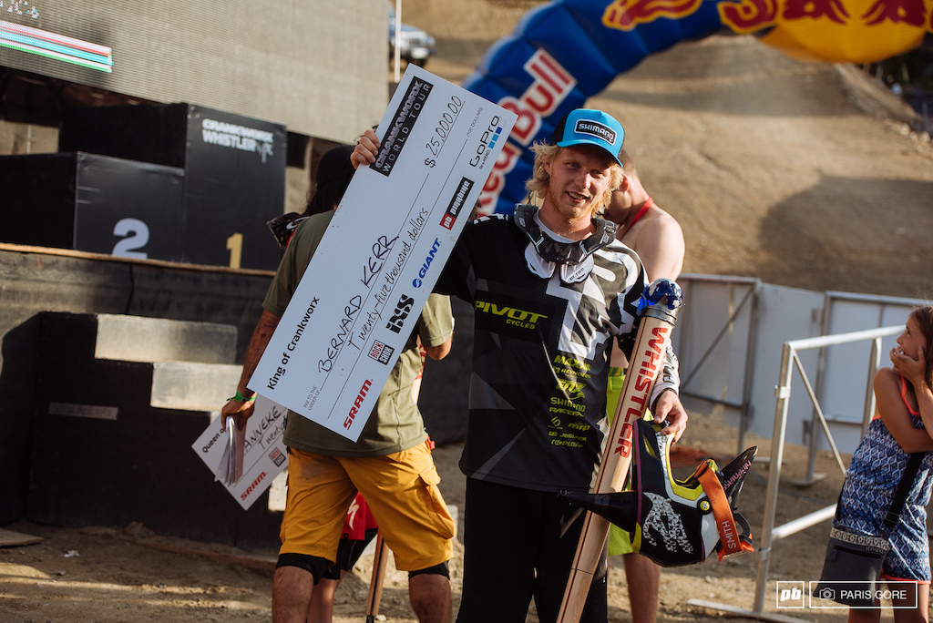 Bernard Kerr barely won 25 000 today he need to get 10th place or better to win King of Crankworx and got 10th place today in the DH race. One lucky human being right here. Point One seconds off from getting beat by Mick Hannah and not getting the winnings.
